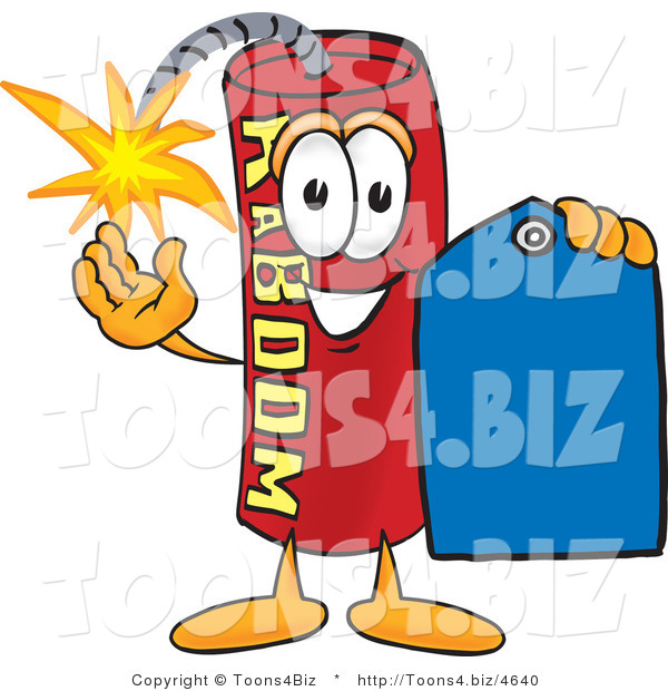 Vector Illustration of a Dynamite Stick Mascot Holding a Blue Sales Price Tag