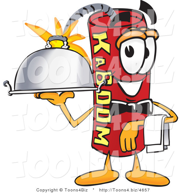Vector Illustration of a Dynamite Stick Mascot Holding a Serving Platter