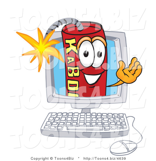 Vector Illustration of a Dynamite Stick Mascot on a Computer Screen