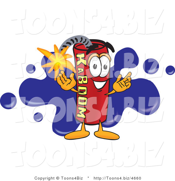 Vector Illustration of a Dynamite Stick Mascot with a Blue Paint Splatter