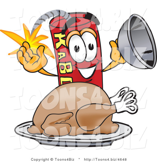 Vector Illustration of a Dynamite Stick Mascot with a Thanksgiving Turkey on a Platter