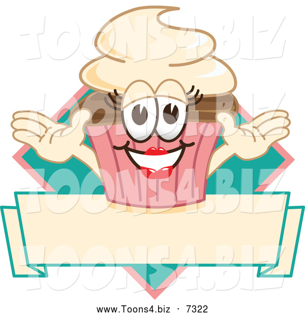 Vector Illustration of a Female Cupcake and Banner over a Diamond