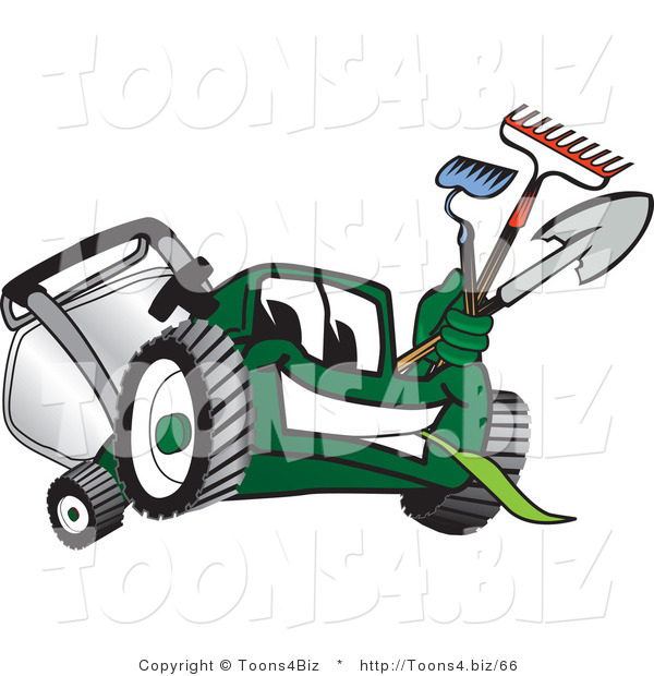 Vector Illustration of a Green Cartoon Lawn Mower Mascot Carrying Garden Tools