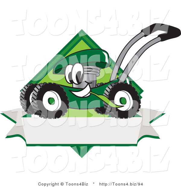 Vector Illustration of a Green Cartoon Lawn Mower Mascot Chewing Grass on a Blank Ribbon Label