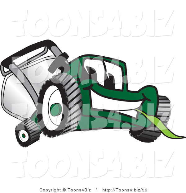 Vector Illustration of a Green Cartoon Lawn Mower Mascot Facing Front and Eating Grass