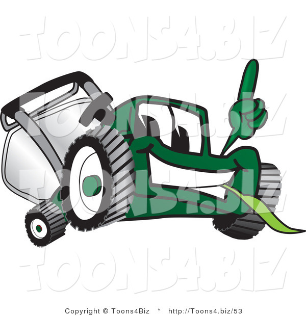 Vector Illustration of a Green Cartoon Lawn Mower Mascot Facing Front and Pointing up