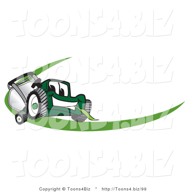 Vector Illustration of a Green Cartoon Lawn Mower Mascot Facing Front on a Logo or Nametag with a Green Dash