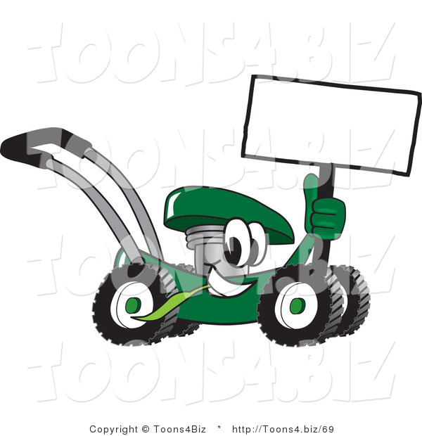 Vector Illustration of a Green Cartoon Lawn Mower Mascot Holding a Blank Sign