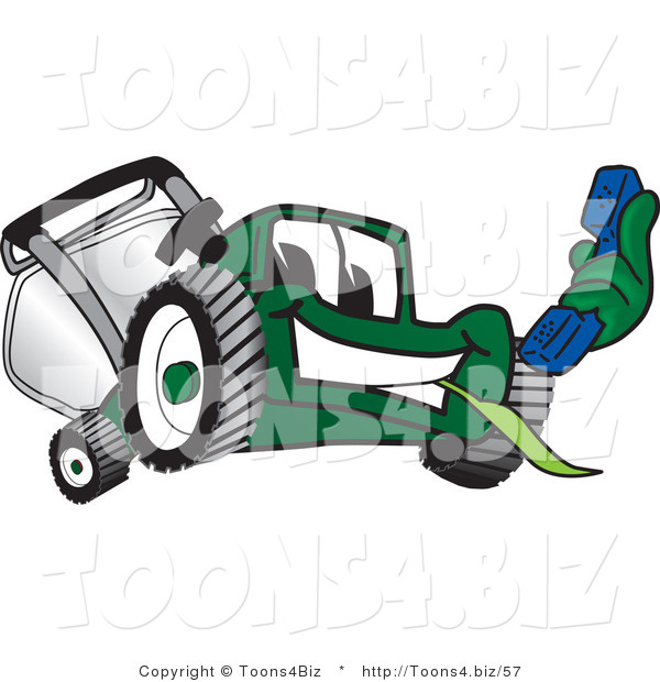Vector Illustration of a Green Cartoon Lawn Mower Mascot Holding out a Blue Telephone