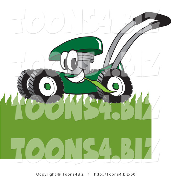 Vector Illustration of a Green Cartoon Lawn Mower Mascot Mowing Grass
