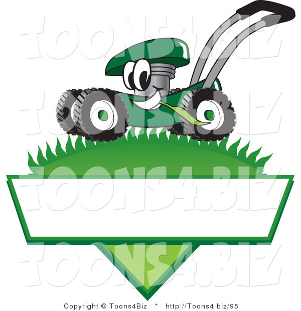 Vector Illustration of a Green Cartoon Lawn Mower Mascot Mowing Grass over a Blank White Label