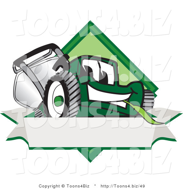 Vector Illustration of a Green Cartoon Lawn Mower Mascot on a Blank Label