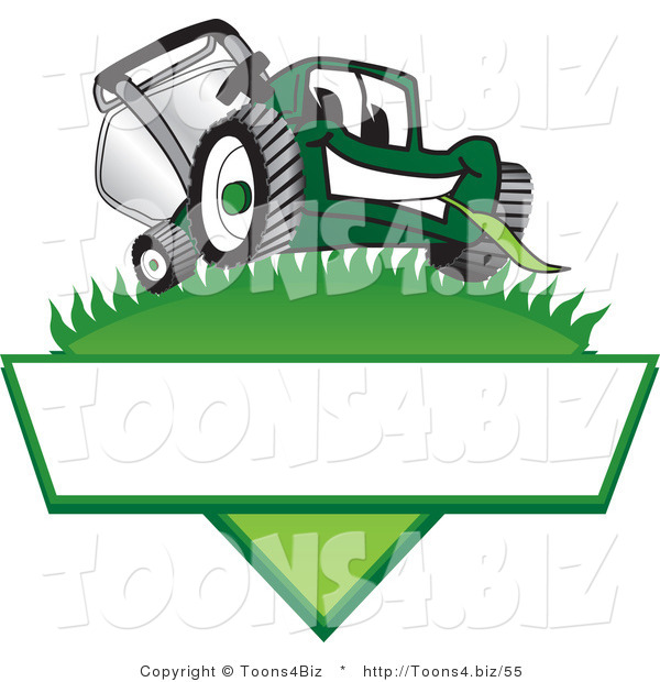Vector Illustration of a Green Cartoon Lawn Mower Mascot on a Logo