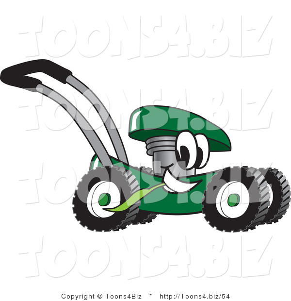 Vector Illustration of a Green Cartoon Lawn Mower Mascot Passing by and Eating Grass