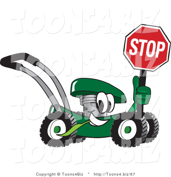 Vector Illustration of a Green Cartoon Lawn Mower Mascot Passing by and Holding a Stop Sign