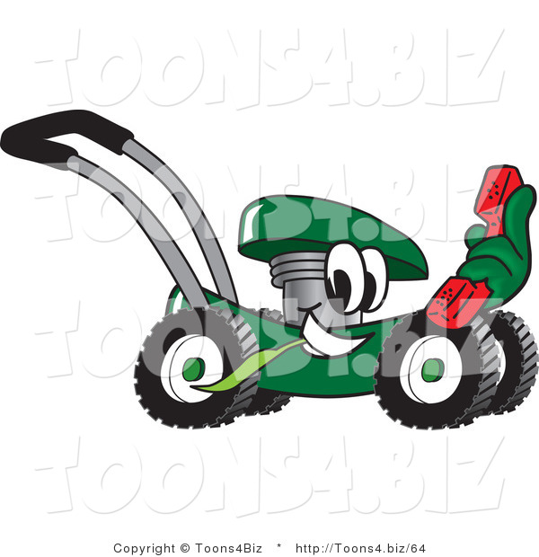 Vector Illustration of a Green Cartoon Lawn Mower Mascot Passing by and Holding out a Red Telephone