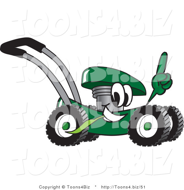 Vector Illustration of a Green Cartoon Lawn Mower Mascot Passing by and Pointing Upwards