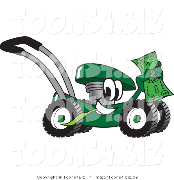 Vector Illustration of a Green Cartoon Lawn Mower Mascot Passing by and Waving a Dollar Bill