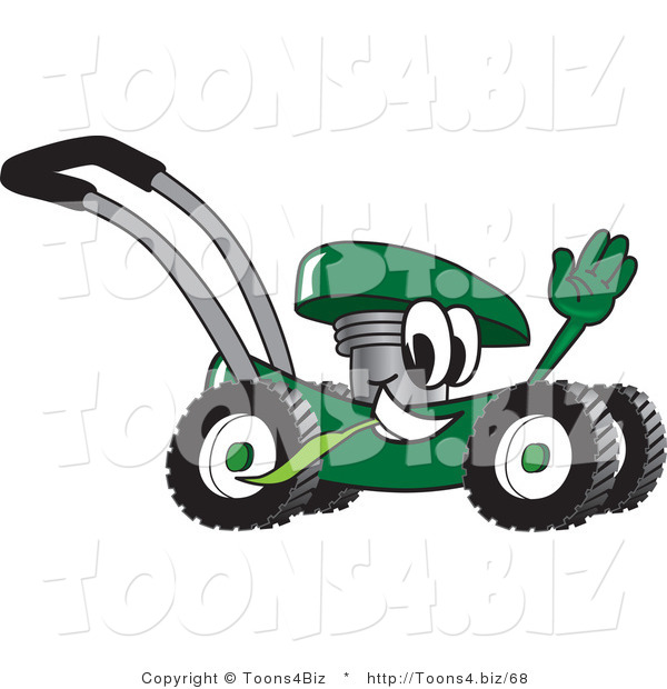 Vector Illustration of a Green Cartoon Lawn Mower Mascot Passing by and Waving