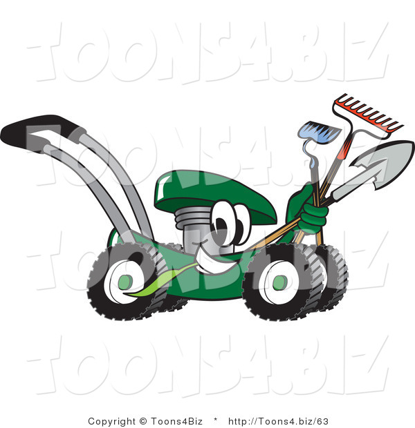 Vector Illustration of a Green Cartoon Lawn Mower Mascot Passing by While Carrying Garden Tools