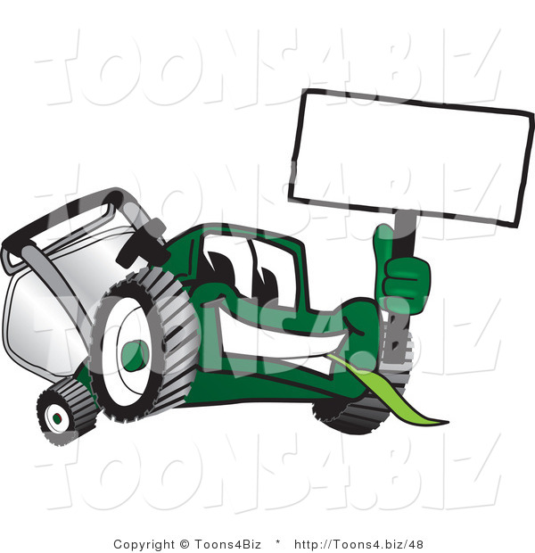 Vector Illustration of a Green Cartoon Lawn Mower Mascot Waving a Blank Sign