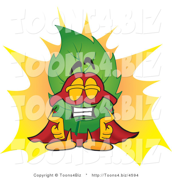 Vector Illustration of a Green Leaf Mascot Dressed As a Super Hero