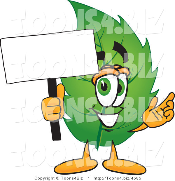 Vector Illustration of a Green Leaf Mascot Holding a Blank White Sign