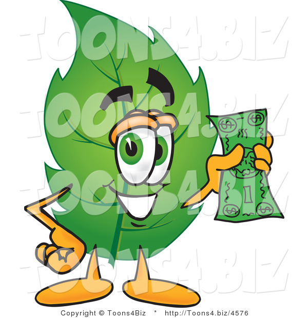 Vector Illustration of a Green Leaf Mascot Holding a Dollar Bill