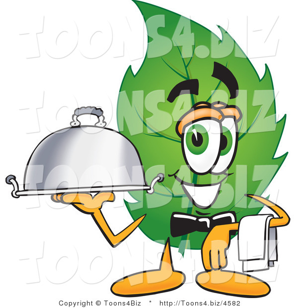 Vector Illustration of a Green Leaf Mascot Holding a Serving Platter