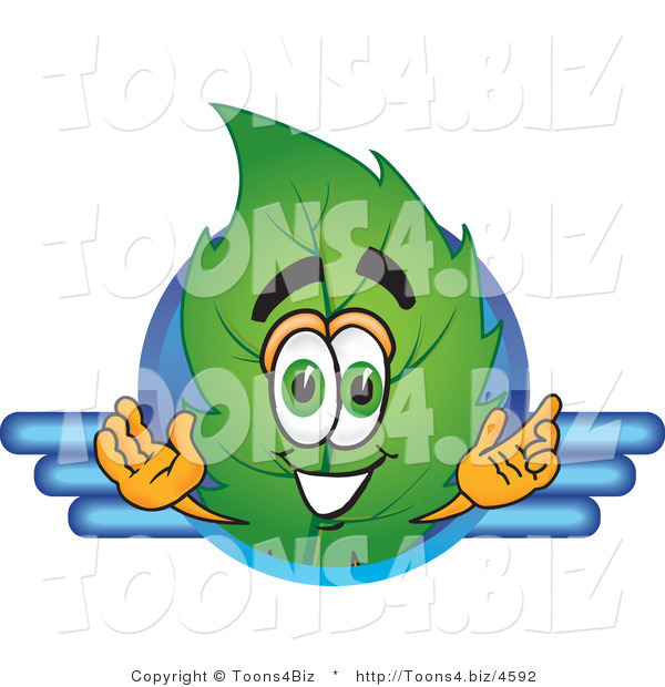 Vector Illustration of a Green Leaf Mascot Logo with Blue Lines