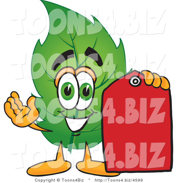Vector Illustration of a Green Leaf Mascot Red Clearance Sales Price Tag