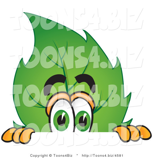 Vector Illustration of a Green Leaf Mascot Scared and Peeking over a Surface