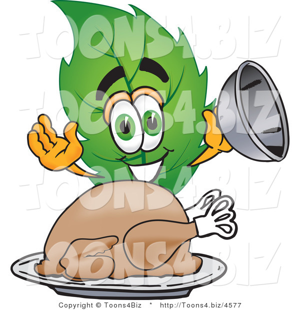 Vector Illustration of a Green Leaf Mascot Serving a Thanksgiving Turkey on a Platter