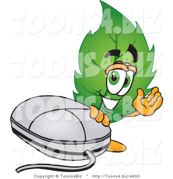 Vector Illustration of a Green Leaf Mascot Standing by a Computer Mouse