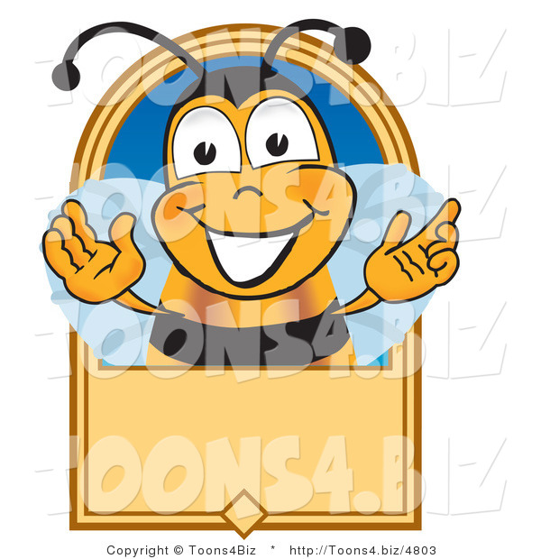 Vector Illustration of a Grinning Bee and Blank Tan LabelGrinning Bee and Blank Tan Label
