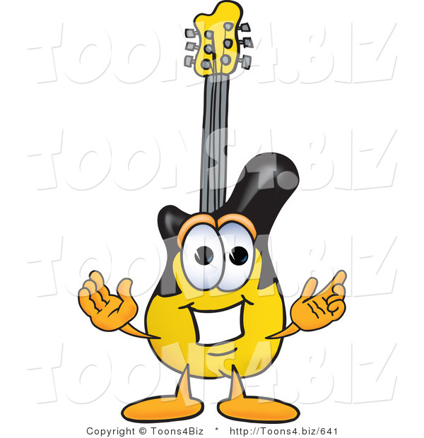 Vector Illustration of a Guitar Mascot with Welcoming Open Arms