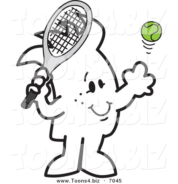 Vector Illustration of a Guy Playing Tennis