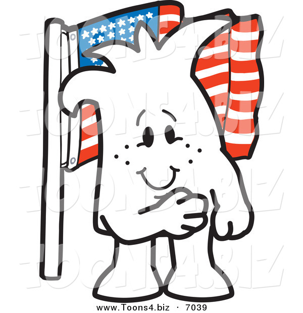 Vector Illustration of a Guy Pledging Allegiance to the American Flag