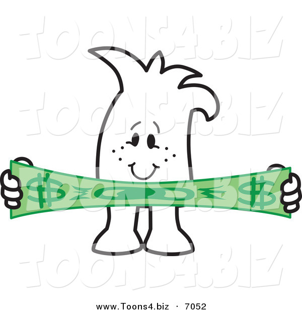 Vector Illustration of a Guy Stretching a Dollar