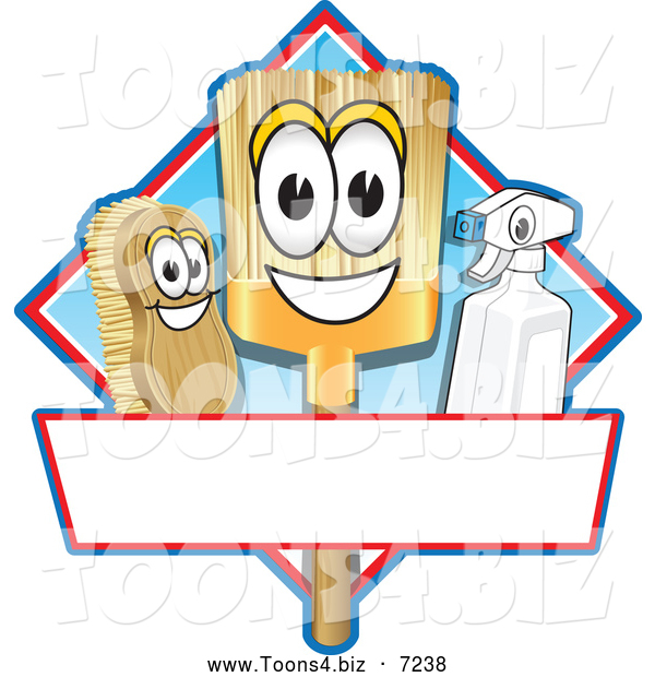 Vector Illustration of a Happy Broom Scrub Brush and Spray Bottle Mascot Characters on a Blue and Red Cleaning Sign or Logo