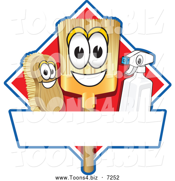 Vector Illustration of a Happy Broom Scrub Brush and Spray Bottle Mascot Characters on a Red Cleaning Sign or Logo