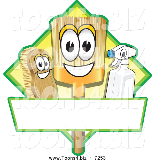 Vector Illustration of a Happy Broom Scrub Brush and Spray Bottle Mascot Characters on a Yellow Cleaning Sign or Logo