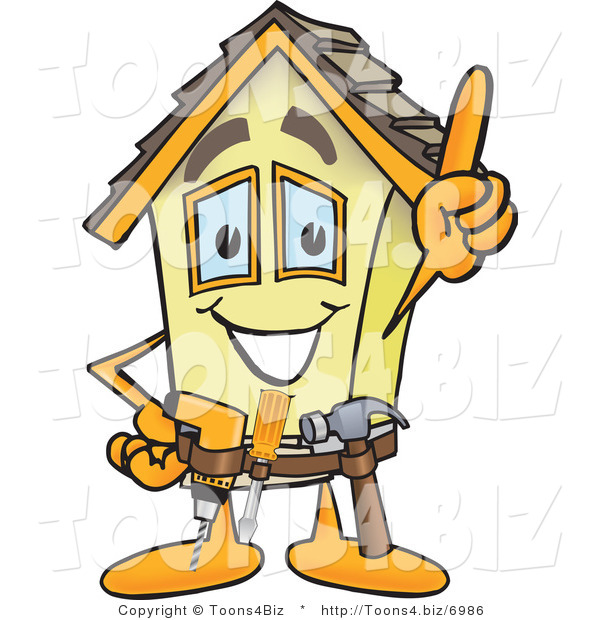 Vector Illustration of a Happy Cartoon Home Mascot Handyman Wearing Tool Belt