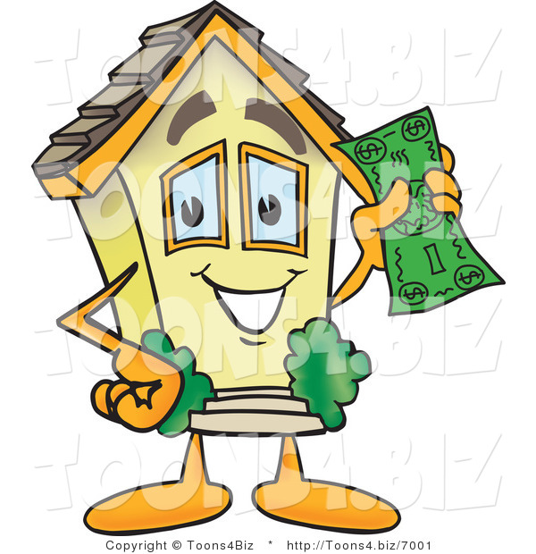 Vector Illustration of a Happy Cartoon Home Mascot Holding Cash Money