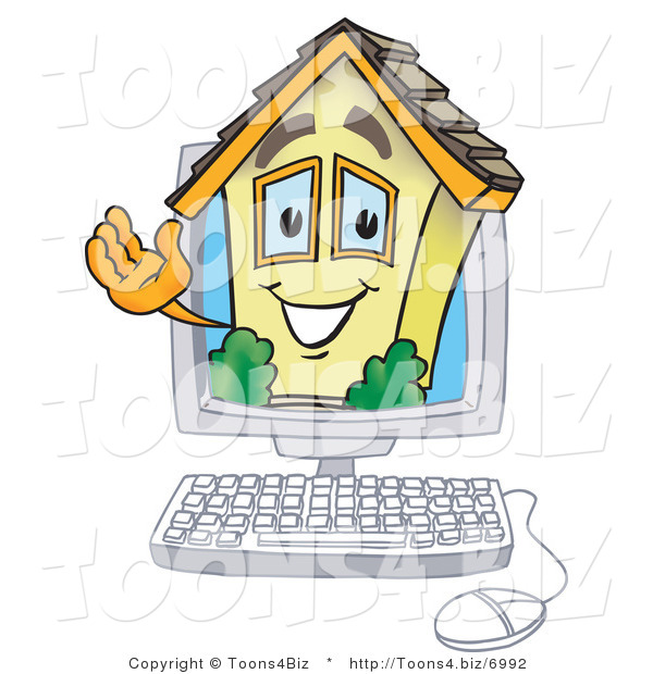Vector Illustration of a Happy Cartoon Home Mascot on a Computer Screen