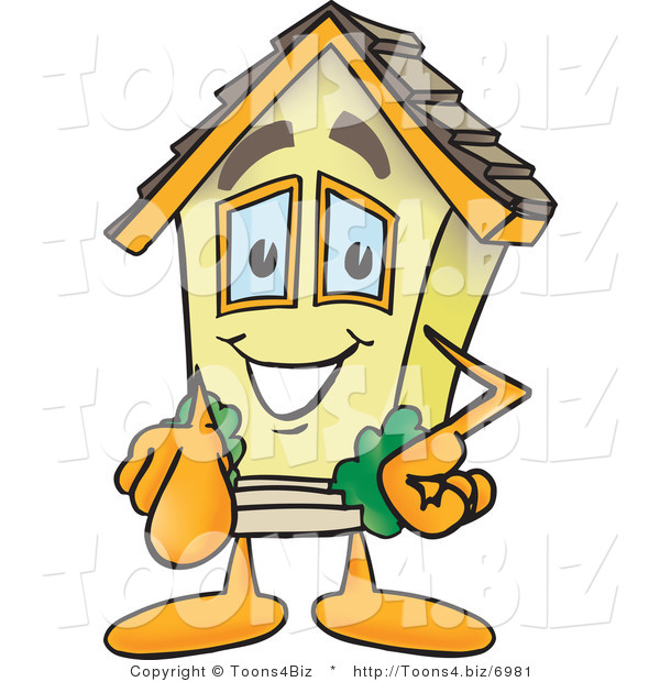 Vector Illustration of a Happy Cartoon Home Mascot Pointing Outward