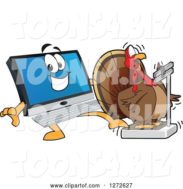 Vector Illustration of a Happy Cartoon PC Computer Mascot Behind a Shocked Thanksgiving Turkey Bird on a Weight Scale