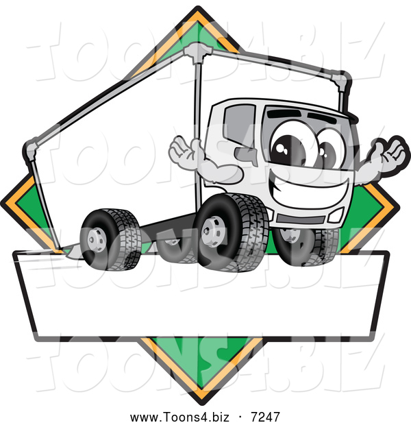 Vector Illustration of a Happy Delivery Big Rig Truck Mascot Character Sign or Logo with a Green Diamond