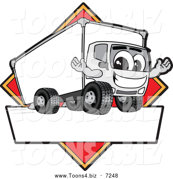 Vector Illustration of a Happy Delivery Big Rig Truck Mascot Character Sign or Logo with a Red Diamond
