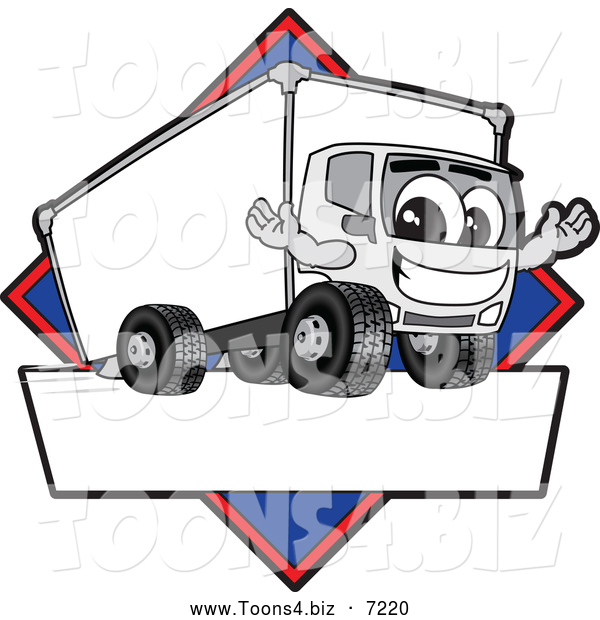 Vector Illustration of a Happy Delivery Truck Mascot Character Sign or Logo with a Blue Diamond